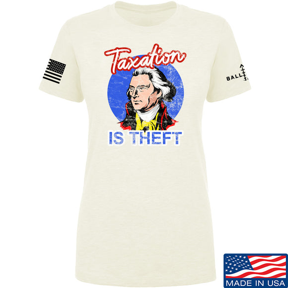 9mmsmg Ladies Taxation is Theft T-Shirt T-Shirts SMALL / Cream by Ballistic Ink - Made in America USA