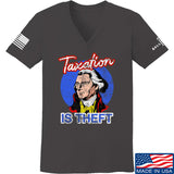 9mmsmg Ladies Taxation is Theft V-Neck T-Shirts, V-Neck SMALL / Charcoal by Ballistic Ink - Made in America USA