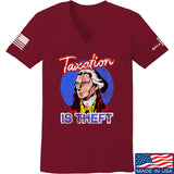 9mmsmg Ladies Taxation is Theft V-Neck T-Shirts, V-Neck SMALL / Cranberry by Ballistic Ink - Made in America USA
