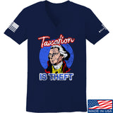 9mmsmg Ladies Taxation is Theft V-Neck T-Shirts, V-Neck SMALL / Navy by Ballistic Ink - Made in America USA