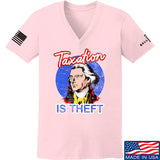 9mmsmg Ladies Taxation is Theft V-Neck T-Shirts, V-Neck SMALL / Light Pink by Ballistic Ink - Made in America USA