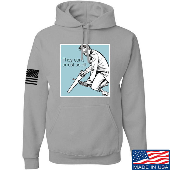 9mmsmg They Can't Arrest Us All Hoodie Hoodies Small / Light Grey by Ballistic Ink - Made in America USA