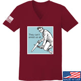 9mmsmg Ladies They Can't Arrest Us All V-Neck T-Shirts, V-Neck SMALL / Cranberry by Ballistic Ink - Made in America USA