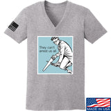 9mmsmg Ladies They Can't Arrest Us All V-Neck T-Shirts, V-Neck SMALL / Light Grey by Ballistic Ink - Made in America USA