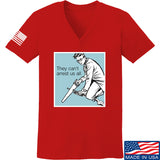9mmsmg Ladies They Can't Arrest Us All V-Neck T-Shirts, V-Neck SMALL / Red by Ballistic Ink - Made in America USA