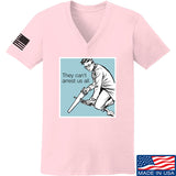 9mmsmg Ladies They Can't Arrest Us All V-Neck T-Shirts, V-Neck SMALL / Light Pink by Ballistic Ink - Made in America USA