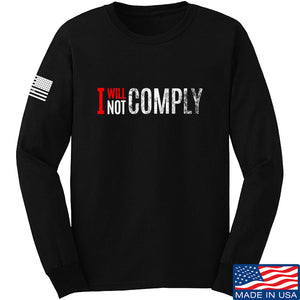 AP2020 Outdoors I Will Not Comply Long Sleeve T-Shirt Long Sleeve Small / Black by Ballistic Ink - Made in America USA