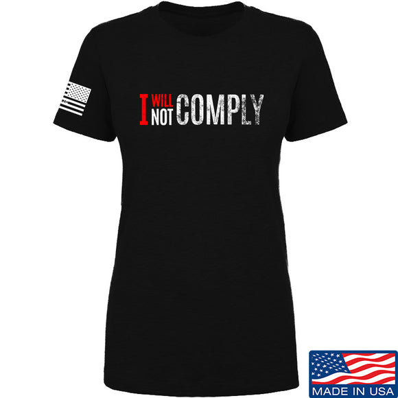 AP2020 Outdoors Ladies I Will Not Comply T-Shirt T-Shirts SMALL / Black by Ballistic Ink - Made in America USA