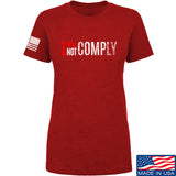 AP2020 Outdoors Ladies I Will Not Comply T-Shirt T-Shirts SMALL / Red by Ballistic Ink - Made in America USA