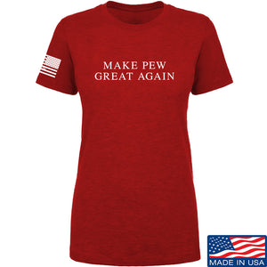 AP2020 Outdoors Ladies Make Pew Great Again T-Shirt T-Shirts SMALL / Red by Ballistic Ink - Made in America USA
