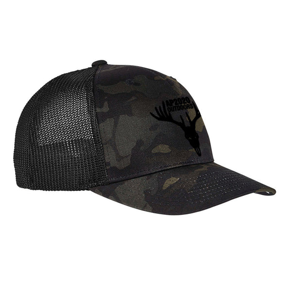 AP2020 Outdoors AP2020 Outdoors Logo Flexfit® Multicam® Trucker Mesh Cap Headwear Black Multicam by Ballistic Ink - Made in America USA