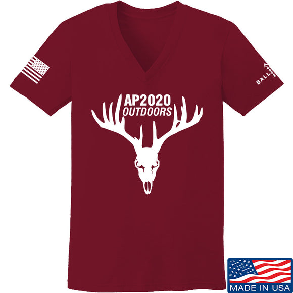 AP2020 Outdoors Ladies AP2020 Outdoors Full Logo V-Neck T-Shirts, V-Neck SMALL / Cranberry by Ballistic Ink - Made in America USA