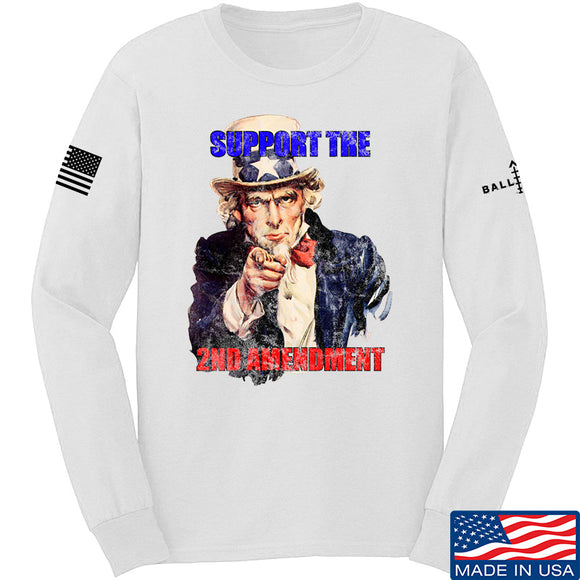 AP2020 Outdoors Uncle Sam 2A Long Sleeve T-Shirt Long Sleeve Small / White by Ballistic Ink - Made in America USA