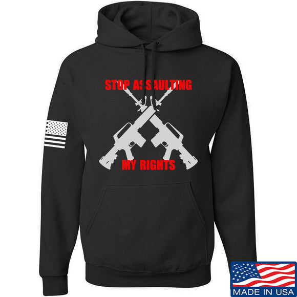 AP2020 Outdoors Stop Assaulting My Rights Hoodie Hoodies Small / Black by Ballistic Ink - Made in America USA