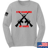AP2020 Outdoors Stop Assaulting My Rights Long Sleeve T-Shirt Long Sleeve Small / Light Grey by Ballistic Ink - Made in America USA