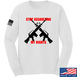 AP2020 Outdoors Stop Assaulting My Rights Long Sleeve T-Shirt Long Sleeve Small / White by Ballistic Ink - Made in America USA