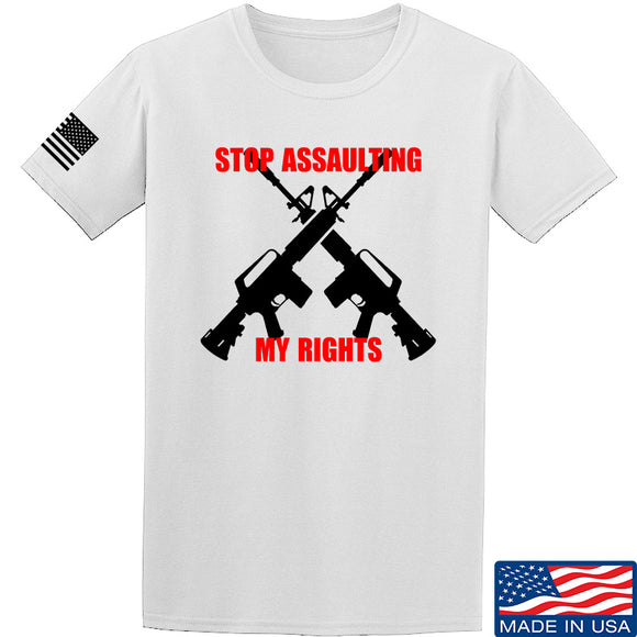 AP2020 Outdoors Stop Assaulting My Rights T-Shirt T-Shirts Small / White by Ballistic Ink - Made in America USA