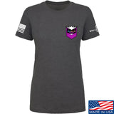 American Gun Chic Ladies American Gun Chic Badge Chest Logo T-Shirt T-Shirts SMALL / Charcoal by Ballistic Ink - Made in America USA