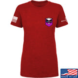 American Gun Chic Ladies American Gun Chic Badge Chest Logo T-Shirt T-Shirts SMALL / Red by Ballistic Ink - Made in America USA