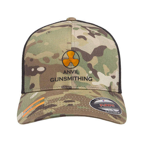 Anvil Gunsmithing Anvil Gunsmithing Logo Flexfit® Multicam® Trucker Mesh Cap Headwear Multicam by Ballistic Ink - Made in America USA