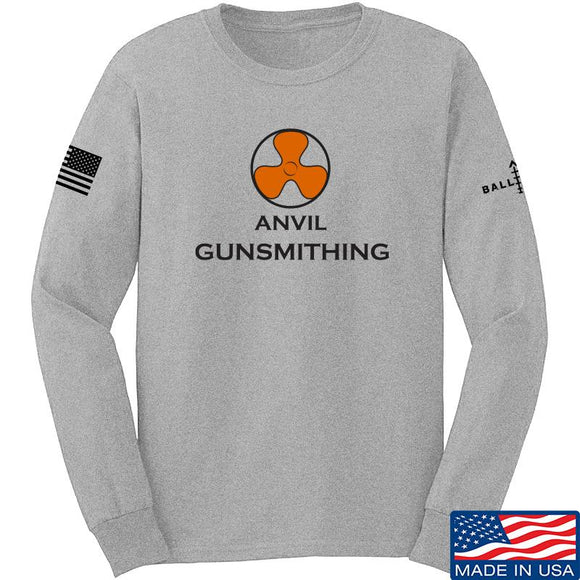 Anvil Gunsmithing Anvil Gunsmithing Logo Long Sleeve T-Shirt Long Sleeve Small / Light Grey by Ballistic Ink - Made in America USA