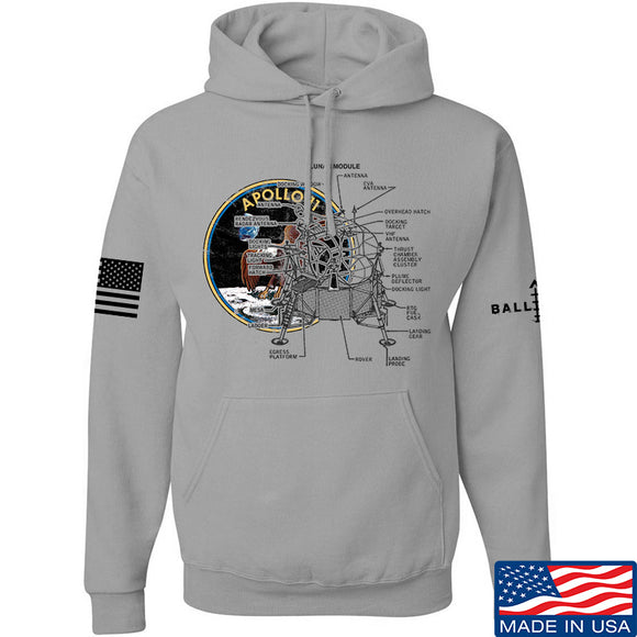 Ballistic Ink Apollo Lunar Tech Hoodie Hoodies Small / Light Grey by Ballistic Ink - Made in America USA