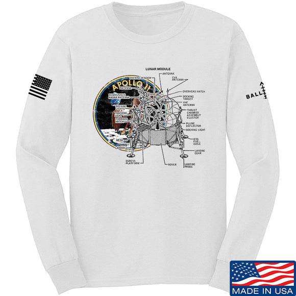 9mmsmg Apollo Lunar Tech Long Sleeve T-Shirt Long Sleeve Small / White by Ballistic Ink - Made in America USA