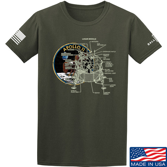 22plinkster Apollo Lunar Tech T-Shirt T-Shirts Small / Military Green by Ballistic Ink - Made in America USA