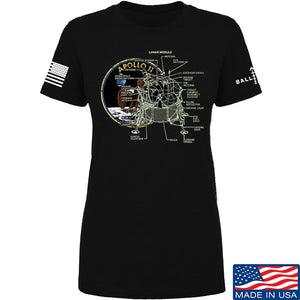 9mmsmg Ladies Apollo Lunar Tech T-Shirt T-Shirts SMALL / Red by Ballistic Ink - Made in America USA