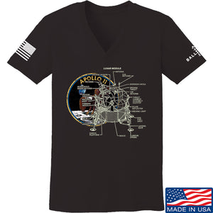 9mmsmg Ladies Apollo Lunar Tech V-Neck T-Shirts, V-Neck SMALL / Black by Ballistic Ink - Made in America USA