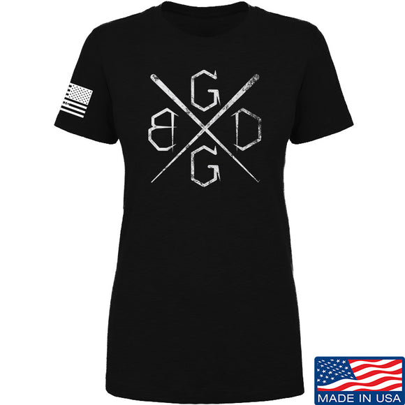 Black Diamond Guns and Gear Ladies BDGG Cross Template T-Shirt T-Shirts SMALL / Black by Ballistic Ink - Made in America USA