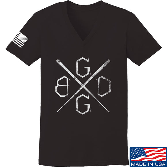 Black Diamond Guns and Gear Ladies BDGG Cross Template V-Neck T-Shirts, V-Neck SMALL / Black by Ballistic Ink - Made in America USA