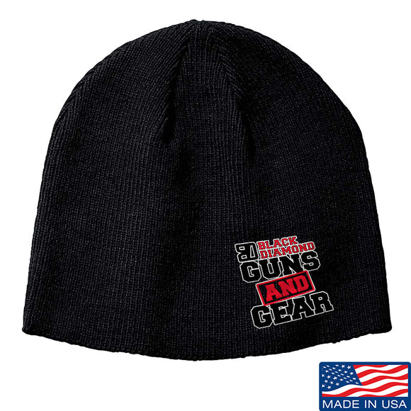 Black Diamond Guns and Gear Black Diamond Guns and Gear Logo Beanie Headwear Black by Ballistic Ink - Made in America USA
