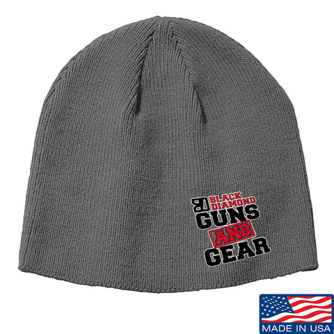 Black Diamond Guns and Gear Black Diamond Guns and Gear Logo Beanie Headwear Grey by Ballistic Ink - Made in America USA