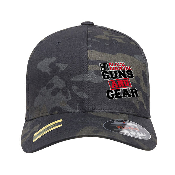 Black Diamond Guns and Gear Black Diamond Guns and Gear Logo Flexfit® Multicam® Trucker Mesh Cap Headwear Black Multicam by Ballistic Ink - Made in America USA
