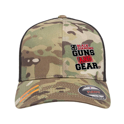 Black Diamond Guns and Gear Black Diamond Guns and Gear Logo Flexfit® Multicam® Trucker Mesh Cap Headwear Multicam by Ballistic Ink - Made in America USA