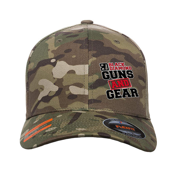 Black Diamond Guns and Gear Black Diamond Guns and Gear Logo Flexfit® Multicam® Trucker Cap Headwear Multicam S/M by Ballistic Ink - Made in America USA