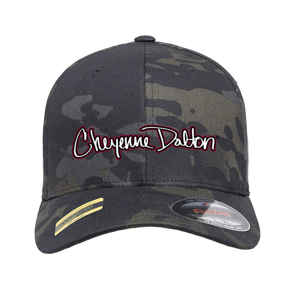 Cheyenne Dalton Cheyenne Dalton Logo Flexfit® Multicam® Trucker Cap Headwear Black Multicam S/M by Ballistic Ink - Made in America USA