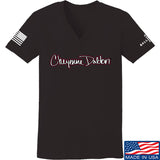 Cheyenne Dalton Ladies Cheyenne Dalton Logo V-Neck T-Shirts, V-Neck SMALL / Black by Ballistic Ink - Made in America USA