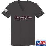 Cheyenne Dalton Ladies Cheyenne Dalton Logo V-Neck T-Shirts, V-Neck SMALL / Charcoal by Ballistic Ink - Made in America USA