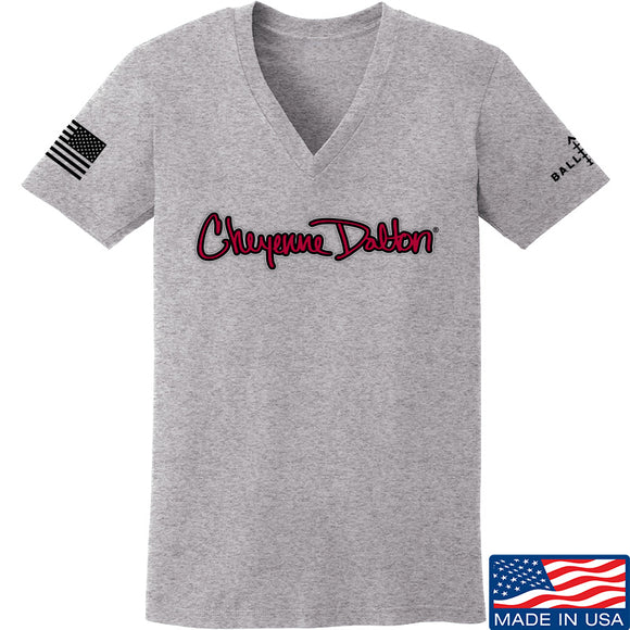 Cheyenne Dalton Ladies Cheyenne Dalton Logo V-Neck T-Shirts, V-Neck SMALL / Light Grey by Ballistic Ink - Made in America USA