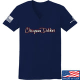 Cheyenne Dalton Ladies Cheyenne Dalton Logo V-Neck T-Shirts, V-Neck SMALL / Navy by Ballistic Ink - Made in America USA
