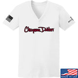 Cheyenne Dalton Ladies Cheyenne Dalton Logo V-Neck T-Shirts, V-Neck SMALL / White by Ballistic Ink - Made in America USA