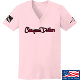 Cheyenne Dalton Ladies Cheyenne Dalton Logo V-Neck T-Shirts, V-Neck SMALL / Light Pink by Ballistic Ink - Made in America USA