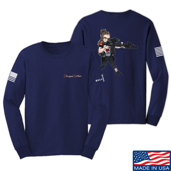 Cheyenne Dalton 2-Sided Cheyenne Dalton Morale Long Sleeve T-Shirt Long Sleeve Small / Navy by Ballistic Ink - Made in America USA