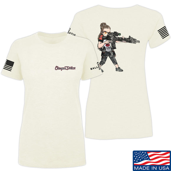 Cheyenne Dalton Ladies 2-Sided Cheyenne Dalton Morale T-Shirt T-Shirts SMALL / Cream by Ballistic Ink - Made in America USA