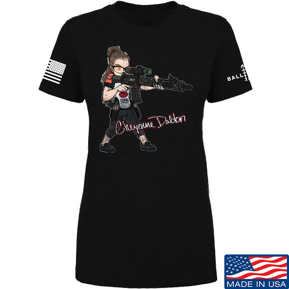Cheyenne Dalton Ladies Cheyenne Dalton Morale T-Shirt T-Shirts SMALL / Black by Ballistic Ink - Made in America USA
