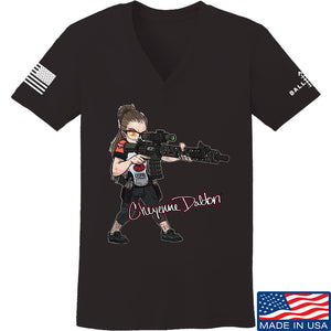 Cheyenne Dalton Ladies Cheyenne Dalton Morale V-Neck T-Shirts, V-Neck SMALL / Charcoal by Ballistic Ink - Made in America USA