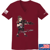 Cheyenne Dalton Ladies Cheyenne Dalton Morale V-Neck T-Shirts, V-Neck SMALL / Cranberry by Ballistic Ink - Made in America USA