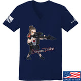 Cheyenne Dalton Ladies Cheyenne Dalton Morale V-Neck T-Shirts, V-Neck SMALL / Navy by Ballistic Ink - Made in America USA
